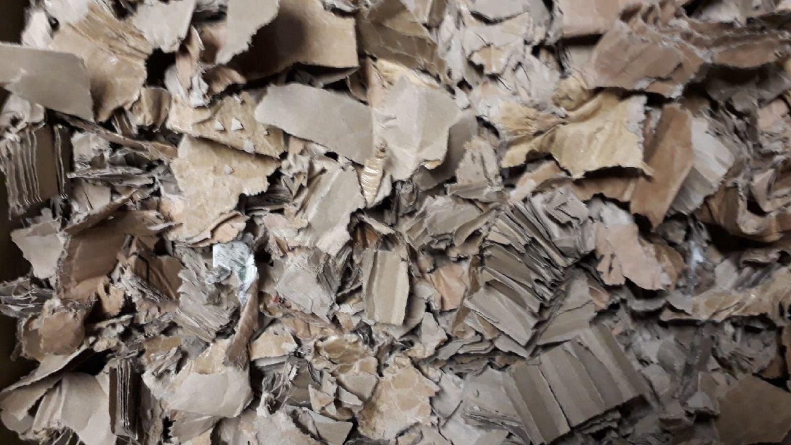 Cartons broyés